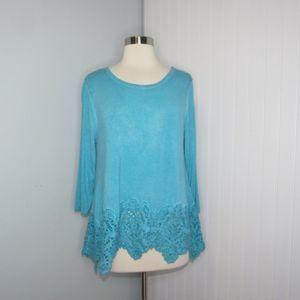 Soft Surroundings | Blue Lace Trim Top